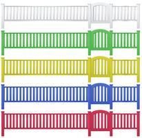 Zaun und Gartentor in fünf Farben