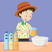 Hombre haciendo jugo fresco