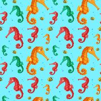 Colourful seahorse seamless pattern