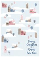 Christmas and Happy New Year seamless illustration whit winter landscape.