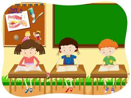 Three Students Learning in Classroom vector