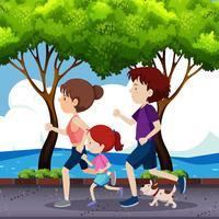 Família correndo na estrada