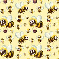 Seamless bumble bee pattern