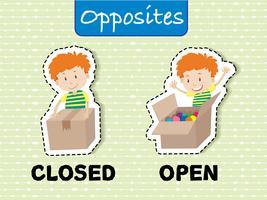 Palavras opostas para fechado e aberto