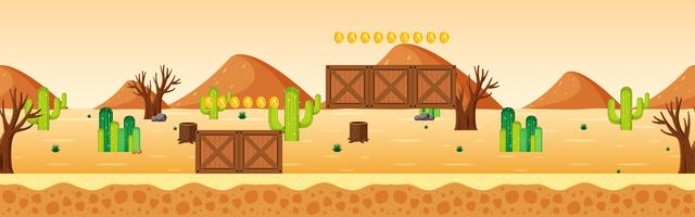Juego de recogida de monedas, escena del desierto.