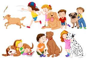 Crianças e seus cães de estimação