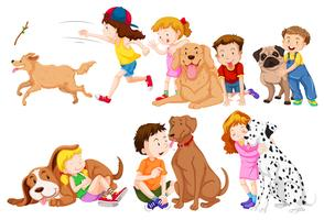 Kids and their pet dogs