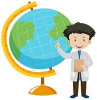 Een wereldbolkaart en een leraar
