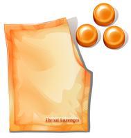 Eine Packung orangefarbene Halspastillen