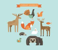 Vector illustrations of forest animals.