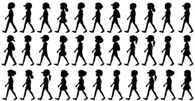 Silhouette of children walking