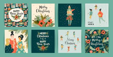 Christmas and Happy New Year templates. Trendy retro style.