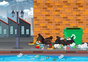 Müll in der Industrielandschaft