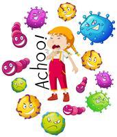 Chica y muchos virus sobre fondo blanco