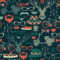 Hipster seamless pattern.Vector vintage illustration.