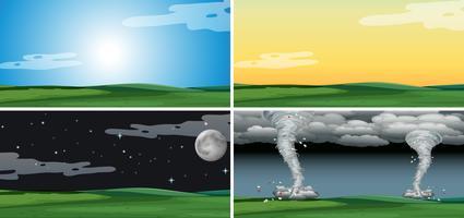 Conjunto de paisagem com clima diferente
