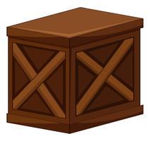 Uma caixa de madeira no fundo branco vetor
