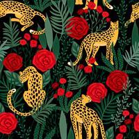 Seamless mönster med leoparder och rosor.