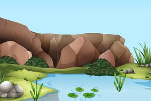 Scène met rivier en klif