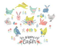 Felices Pascuas. Vector conjunto de pollo de Pascua y conejitos para tarjeta, cartel, folleto y otros usuarios.