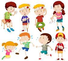 Diferentes niños se enferman y se lastiman