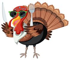 A turkey character on white background