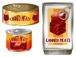 Tre design av konserverad kött