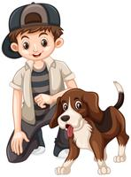 Boy and beagle dog