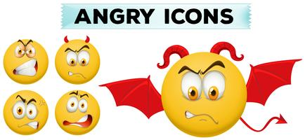 Angry icons on yellow balls