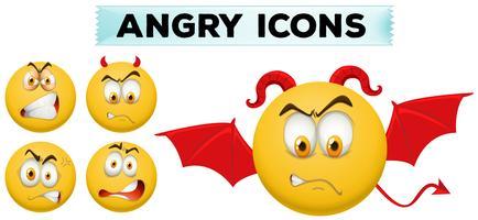 Angra ikoner på gula bollar