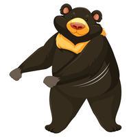 Black bear dancing white background