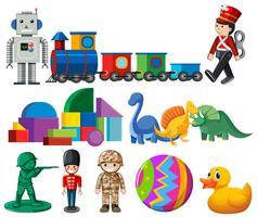 Eine Reihe von Kinderspielzeug