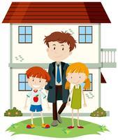 Glückliche Familie und Vorgarten