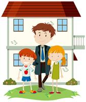 Família feliz e jardim da frente