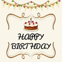 Happy Birthday card template with cake and lights