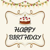 Glückliche Glückwunschkartenschablone mit Kuchen und Lichtern