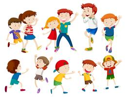 Sätta av glada barn