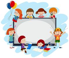 A Whiteboard Template with Children