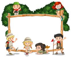 Frame template with kids in safari outfit