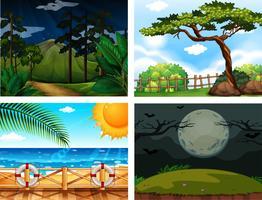 Vier verschillende natuurscènes in de buitenlucht