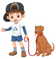 A boy and dog on white background