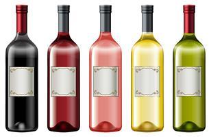 Diferentes cores de garrafas de vinho