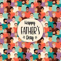 Feliz dia dos pais. Ilustração vetorial com rostos de homens.