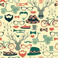 Hipster seamless pattern.Vector vintage illustration.
