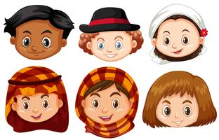 Different faces of children from different countries