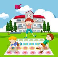 Crianças, tocando, twister, jogo