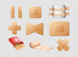 Different designs of bandages on transparent background