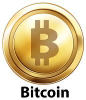 Bitcoin with golden coin on white background