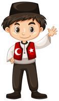 Menino turco, acenando, olá, olá