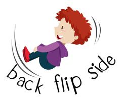Wordcard fro back flip side with boy flipping